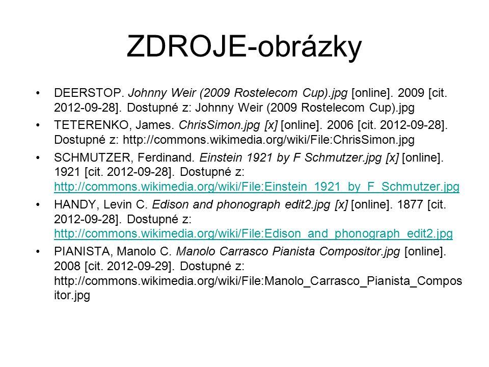 ZDROJE-obrázky DEERSTOP. Johnny Weir (2009 Rostelecom Cup).jpg [online]. 2009 [cit. 2012-09-28]. Dostupné z: Johnny Weir (2009 Rostelecom Cup).jpg.